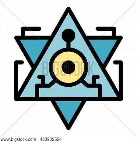 Pyramid Alchemy Icon. Outline Pyramid Alchemy Vector Icon Color Flat Isolated