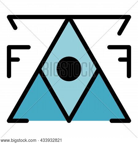 Mystery Alchemy Pyramid Icon. Outline Mystery Alchemy Pyramid Vector Icon Color Flat Isolated