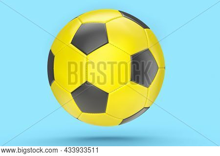 Yellow Soccer Or Football Ball Isolated On Blue Background