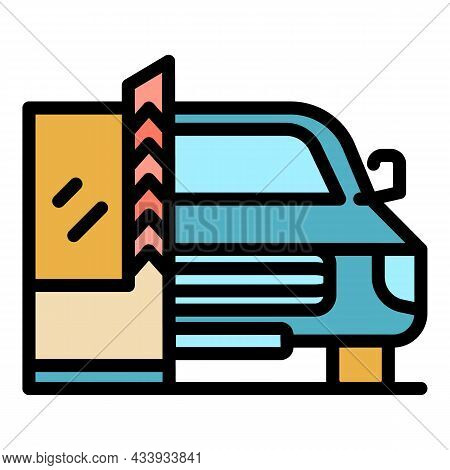 Car Parking Barrier Icon. Outline Car Parking Barrier Vector Icon Color Flat Isolated