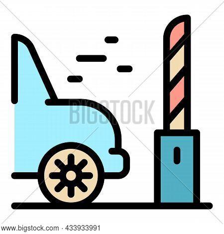 Car Through Parking Barrier Icon. Outline Car Through Parking Barrier Vector Icon Color Flat Isolate