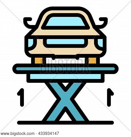 Car Lifting Parking Icon. Outline Car Lifting Parking Vector Icon Color Flat Isolated