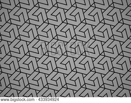 Abstract Geometric Pattern. A Seamless Background. Black And Gray Ornament. Graphic Modern Pattern.
