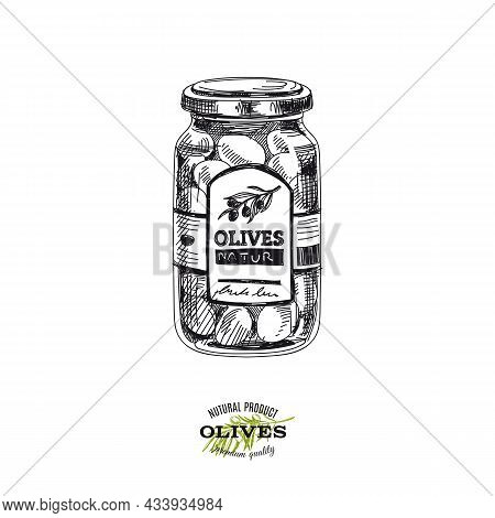 Canned Olives, Hand Drawn Retro Vector Illustration. Glass Jar With Preserve, Template For Packaging
