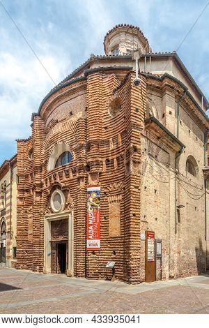Alba, Italy - June 27,2021 - View At The Church Of Santa Maria Maddalena In The Streets Of Alba. Alb