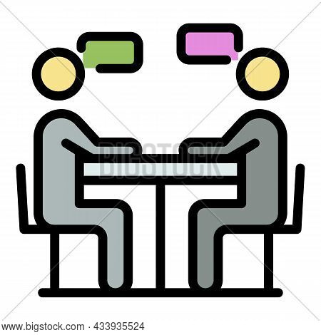 Cafe Discussion Icon. Outline Cafe Discussion Vector Icon Color Flat Isolated
