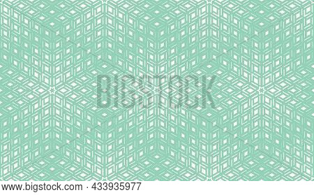 Abstract Geometric Pattern. A Seamless Background. White And Green Ornament. Graphic Modern Pattern.