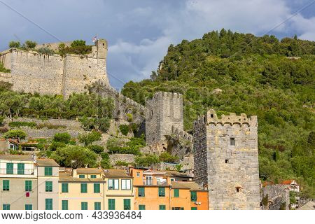 Porto Venere, Cinque Terre - Italy, May 12, 2019: View On Medieval Doria Castle And Typical Colorful