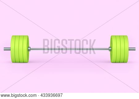 Abstract Metal Barbell With Green Disks Isolated On Pink Background