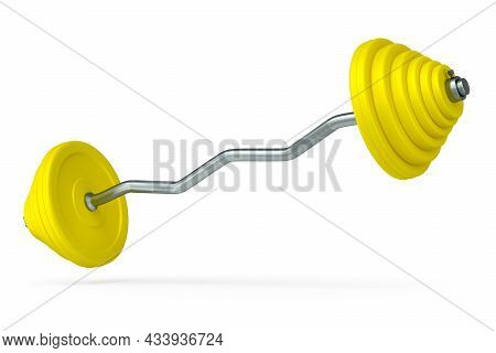 Abstract Metal Barbell With Yellow Disks And Shaped Handle Isolated On White