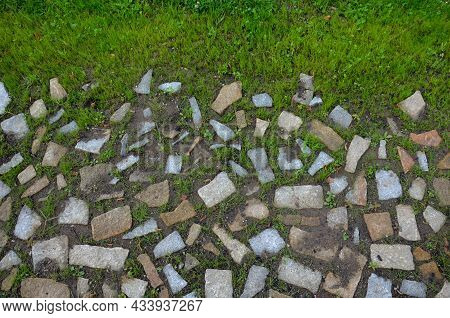 Transition Of Paved Surfaces Between Paving And Lawn. The Lawn Grows Between Individual Randomly Pla