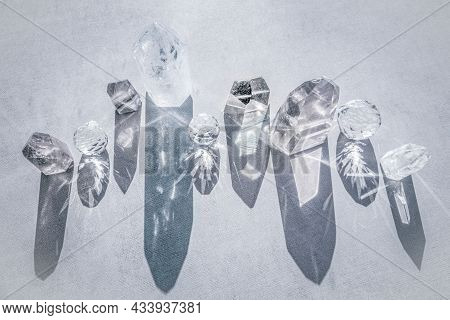 Top View Of Healing Minerals, Gemstoes For Healing, Spiritual Practices Or Alternative Medicine