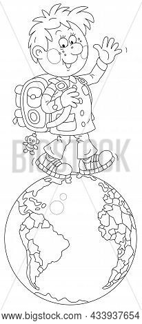 Cheerful Schoolboy With His Satchel Waving His Hand In Greeting And Walking On A Spinning Globe, Bla