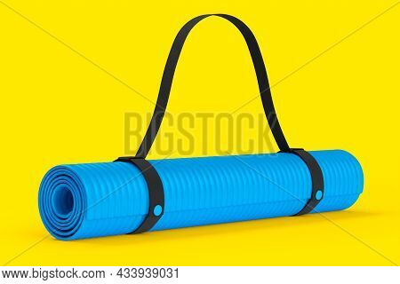 Blue Yoga Mat Or Lightweight Foam Camping Bed Roll Pad Isolated On Yellow.