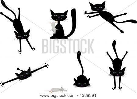 Vector Set Of Pictures With Black Cats