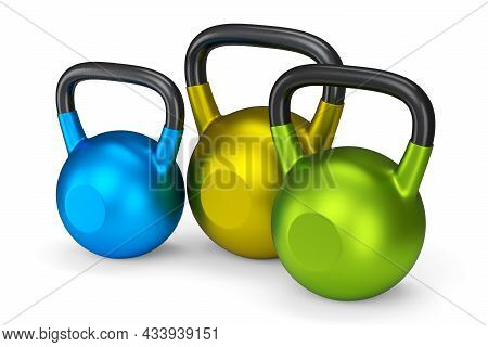 Set Of Gym Kettlebells For Workout Isolated On White Background