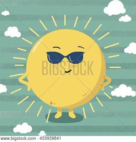 Cute Sun Wearing Sunglasses On Summer Day. Stylish Summer Sun. Vector Illustration Isolated On Blue