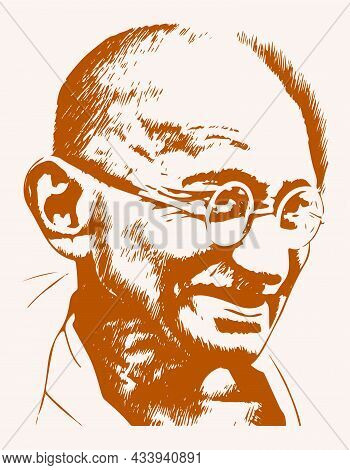 Sketch Of Father Of Indian Nation And Freedom Fighter Mahatma Gandhi Outline Editable Illustration