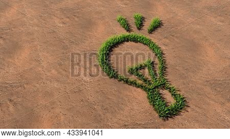 Concept conceptual green summer lawn grass symbol shape on brown soil or earth background, a shining lightbulb sign. 3d illustration metaphor for creation, inspiration, brainstorming, genius invention