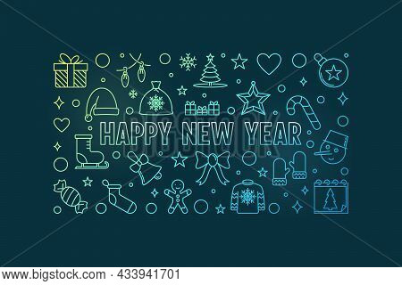 Happy New Year Vector Colored Outline Horizontal Illustration