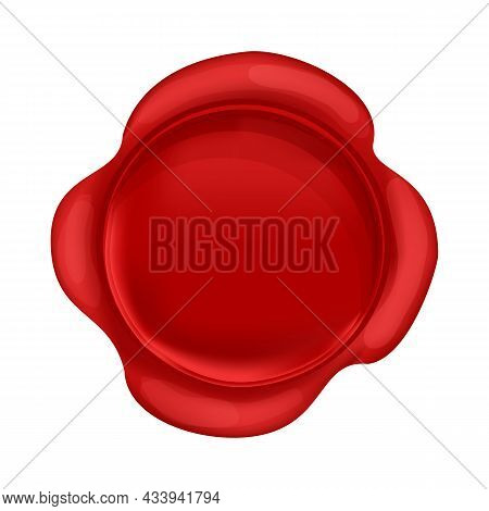 Wax Seal Round Stump Red Color In Cartoon Style Isolated On White Background. Confidential, Quality