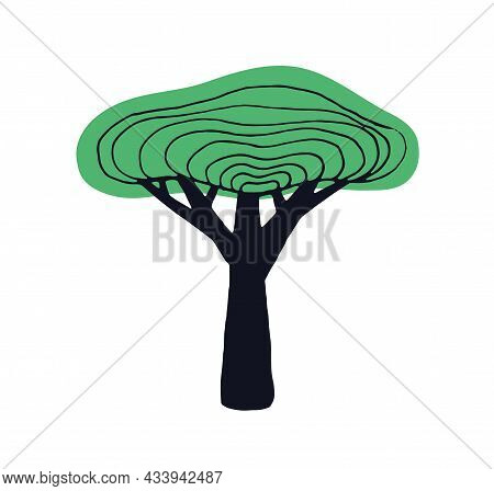Simple Doodle Tree With Trunk, Crown And Leaves. Naive Childish Drawing Of Baobab. Primitive Botanic