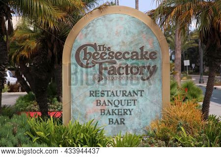 September 16, 2021 Redondo Beach California: The Cheesecake Factory sign. Road Sign announcing the location of the Redondo Beach California Cheesecake Factory restaurant sign.