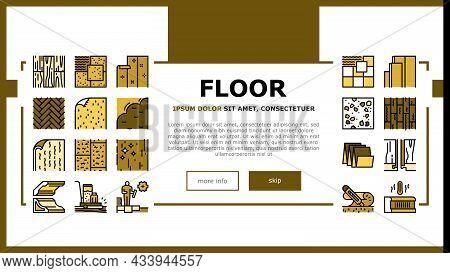 Floor Installation Landing Web Page Header Banner Template Vector. Carpenter Covering And Floor Heat