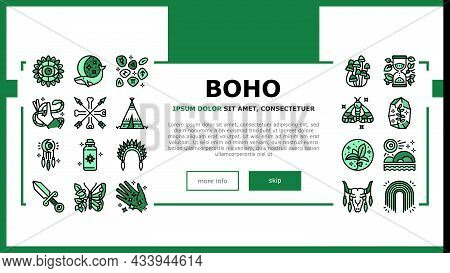 Boho Style Decoration Landing Web Page Header Banner Template Vector. Butterfly And Insect, Dreamcat