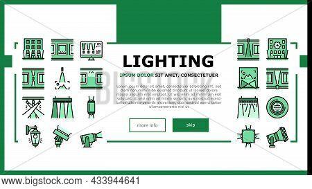 Facade Lighting Tool Landing Web Page Header Banner Template Vector. Building Facade Lighting Electr