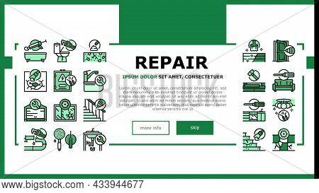 Home Repair Occupation Landing Web Page Header Banner Template Vector. Sink And Bath, Garage Door An
