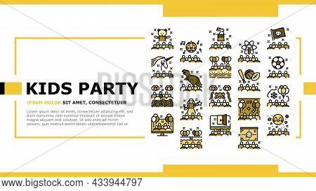 Kids Birthday Party Landing Web Page Header Banner Template Vector. Magic And Disco Kids Birthday Pa