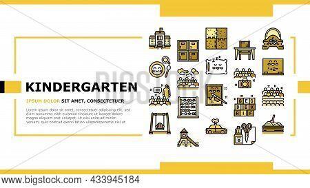 Kindergarten Activity Landing Web Page Header Banner Template Vector. Kindergarten Sleeping And Walk