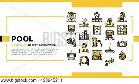Pool Cleaning Service Landing Web Page Header Banner Template Vector. Pool Cleaning Electronic Robot
