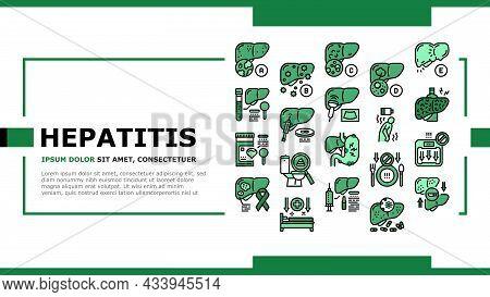 Hepatitis Liver Health Problem Landing Web Page Header Banner Template Vector. Cirrhosis And Hepatit