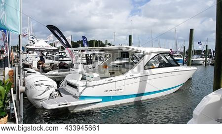 NORWALK, CT, USA - SEPTEMBER 23, 2021: Regal boat from   Progressive Norwalk Boat Show Day One, show is from September 23-26 2021