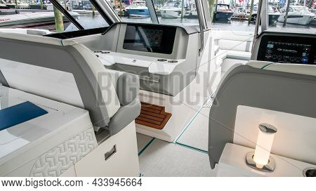 NORWALK, CT, USA - SEPTEMBER 23, 2021: Regal LX 36 boat from   Progressive Norwalk Boat Show Day One, show is from September 23-26 2021