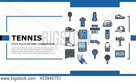 Tennis Sport Game Competition Landing Web Page Header Banner Template Vector. Women And Men Tennis A