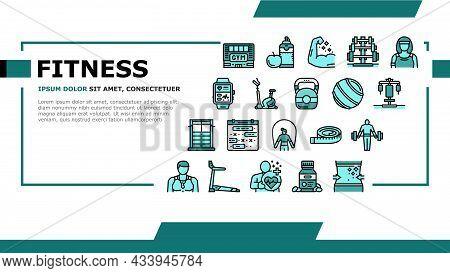 Fitness Health Athlete Training Landing Web Page Header Banner Template Vector. Sportsman Equipment