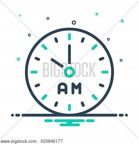 Mix Icon For Am Morning Clock Watch Timer Timepiece Horologe Ante-meridiem Alarm Time Analog Countdo