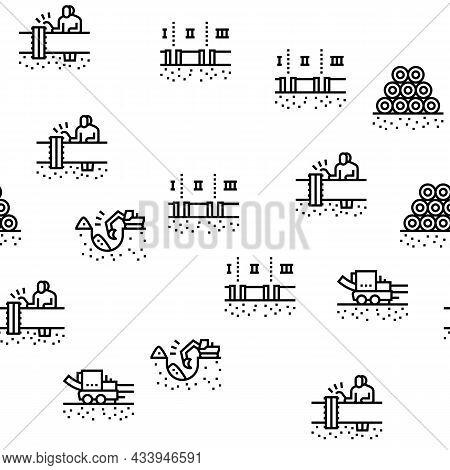Pipeline Construction Vector Seamless Pattern Thin Line Illustration