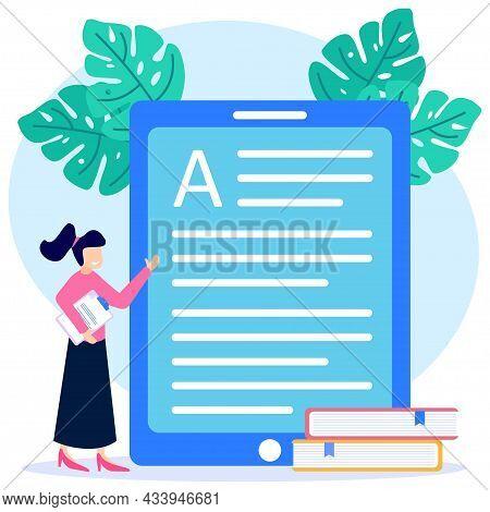 Vector Illustration Of Business Education Concept, Professional Teacher Service, E-book Device Icon