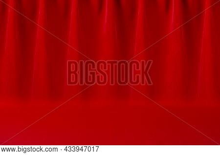 Luxury Classic Theatre Abstract Scene With Saturated Scarlet Red Silk Curtain With Smooth Creases. E
