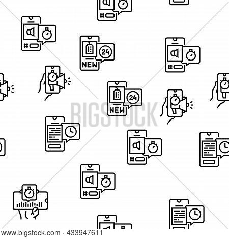 Ephemeral Content Vector Seamless Pattern Thin Line Illustration