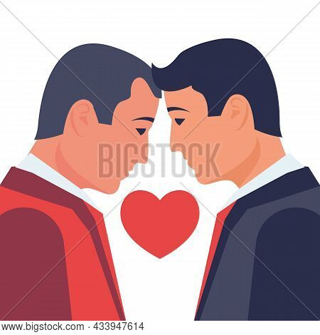 Two Homosexuals Bowed Heads In A Kiss. Same-sex Marriage. People Homosexuality. Male Gay Couple On B