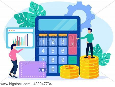 Flat Style Vector Illustration Business Calculation Accounting Concept. Corporate Finance And Tax Ca