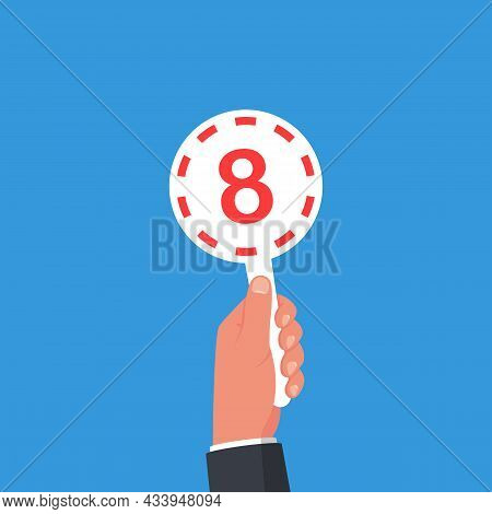 Score Card 8. Number Table. Digit Rating On A Scorecard. Human Hand Holding Score Card. Colored Scor