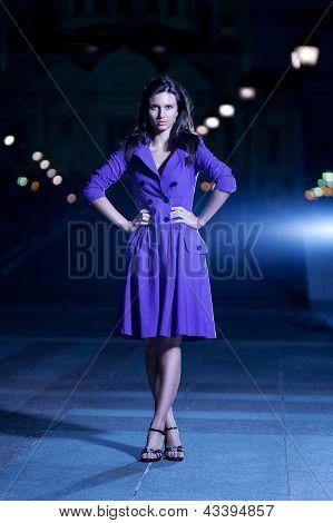 Beautiful Girl In Purple Coat