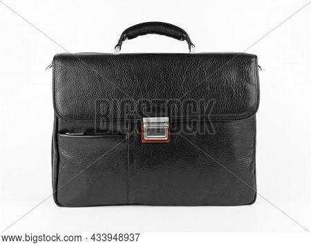 New Fashion Male Business Bag Or Briefcase In Black Leather. Isolated On White Background