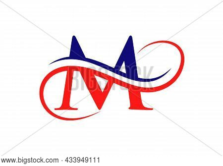 M Logo With Creative Curved Vector Illustration. Initial Letter M Modern Shape Logo Design Template